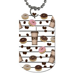 Donuts And Coffee Pattern Dog Tag (two Sides) by Valentinaart