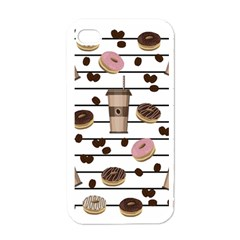 Donuts And Coffee Pattern Apple Iphone 4 Case (white) by Valentinaart
