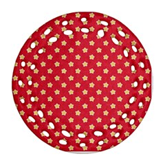 Pattern Felt Background Paper Red Round Filigree Ornament (two Sides)