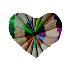 Pen Crayon Color Sharp Red Yellow Standard 16  Premium Flano Heart Shape Cushions by Nexatart