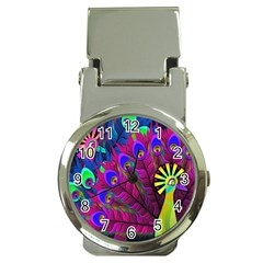 Peacock Abstract Digital Art Money Clip Watches by Nexatart