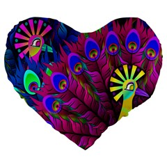 Peacock Abstract Digital Art Large 19  Premium Flano Heart Shape Cushions by Nexatart