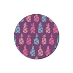 Pineapple Pattern  Rubber Coaster (round)  by Nexatart