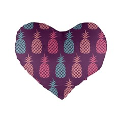 Pineapple Pattern  Standard 16  Premium Heart Shape Cushions by Nexatart