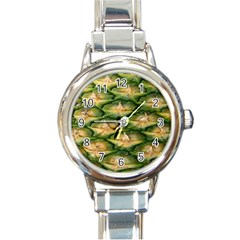 Pineapple Pattern Round Italian Charm Watch by Nexatart