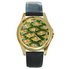 Pineapple Pattern Round Gold Metal Watch by Nexatart