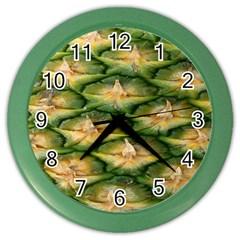 Pineapple Pattern Color Wall Clocks by Nexatart