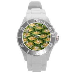 Pineapple Pattern Round Plastic Sport Watch (l) by Nexatart