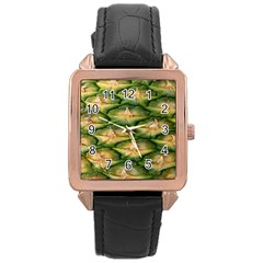 Pineapple Pattern Rose Gold Leather Watch  by Nexatart