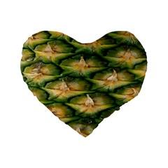 Pineapple Pattern Standard 16  Premium Flano Heart Shape Cushions by Nexatart