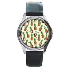 Pineapple Wallpaper Pattern Round Metal Watch by Nexatart