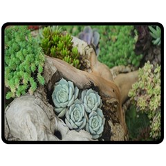 Plant Succulent Plants Flower Wood Double Sided Fleece Blanket (large)  by Nexatart