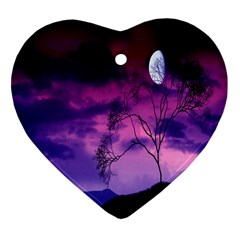 Purple Sky Heart Ornament (Two Sides)