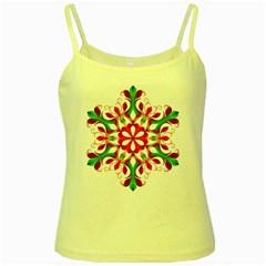 Red And Green Snowflake Yellow Spaghetti Tank