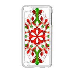 Red And Green Snowflake Apple Ipod Touch 5 Case (white) by Nexatart