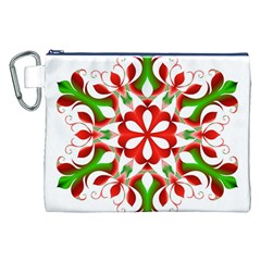 Red And Green Snowflake Canvas Cosmetic Bag (XXL) by Nexatart