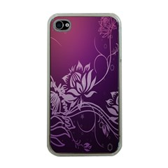 Purple Lotus Apple Iphone 4 Case (clear)
