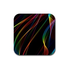 Rainbow Ribbons Rubber Square Coaster (4 Pack)  by Nexatart