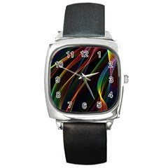 Rainbow Ribbons Square Metal Watch by Nexatart