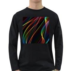 Rainbow Ribbons Long Sleeve Dark T Shirts by Nexatart