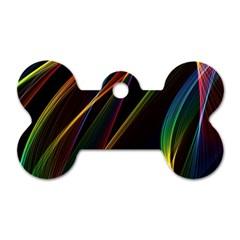 Rainbow Ribbons Dog Tag Bone (one Side) by Nexatart
