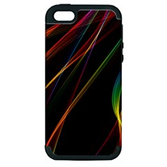 Rainbow Ribbons Apple Iphone 5 Hardshell Case (pc+silicone) by Nexatart