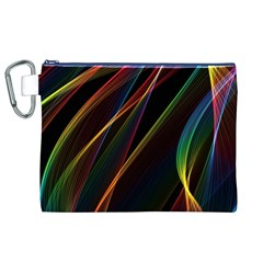Rainbow Ribbons Canvas Cosmetic Bag (xl) by Nexatart