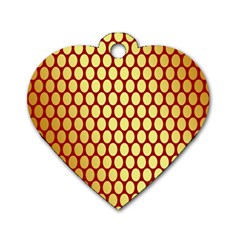 Red And Gold Effect Backing Paper Dog Tag Heart (one Side)