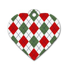 Red Green White Argyle Navy Dog Tag Heart (two Sides) by Nexatart