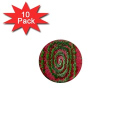 Red Green Swirl Twirl Colorful 1  Mini Magnet (10 Pack)  by Nexatart