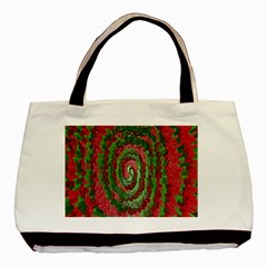 Red Green Swirl Twirl Colorful Basic Tote Bag by Nexatart