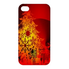 Red Silhouette Star Apple Iphone 4/4s Hardshell Case