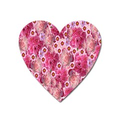 Roses Flowers Rose Blooms Nature Heart Magnet by Nexatart