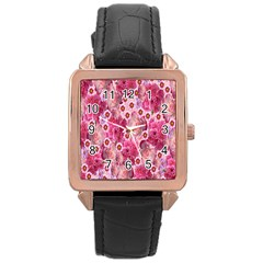 Roses Flowers Rose Blooms Nature Rose Gold Leather Watch  by Nexatart