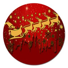 Santa Christmas Claus Winter Magnet 5  (Round)