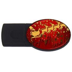 Santa Christmas Claus Winter Usb Flash Drive Oval (2 Gb) by Nexatart