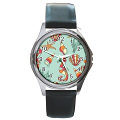Seahorse Seashell Starfish Shell Round Metal Watch by Nexatart