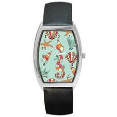 Seahorse Seashell Starfish Shell Barrel Style Metal Watch by Nexatart