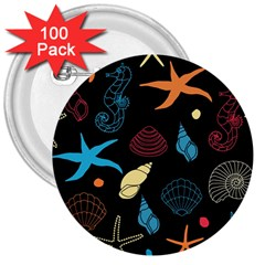 Seahorse Starfish Seashell Shell 3  Buttons (100 Pack)  by Nexatart