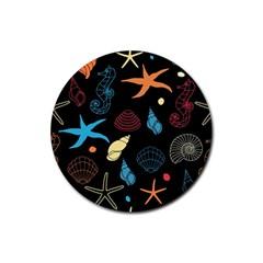 Seahorse Starfish Seashell Shell Rubber Coaster (round)  by Nexatart