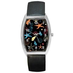 Seahorse Starfish Seashell Shell Barrel Style Metal Watch by Nexatart
