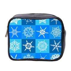 Seamless Blue Snowflake Pattern Mini Toiletries Bag 2 Side