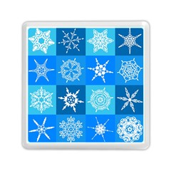 Seamless Blue Snowflake Pattern Memory Card Reader (square)  by Nexatart