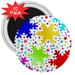 Seamless Snowflake Pattern 3  Magnets (10 Pack)