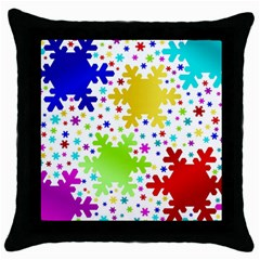Seamless Snowflake Pattern Throw Pillow Case (Black)