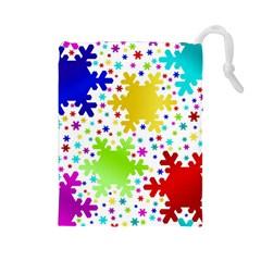 Seamless Snowflake Pattern Drawstring Pouches (large)  by Nexatart