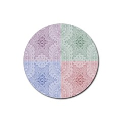Seamless Kaleidoscope Patterns In Different Colors Based On Real Knitting Pattern Rubber Coaster (round)