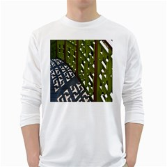 Shadow Reflections Casting From Japanese Garden Fence White Long Sleeve T Shirts by Nexatart