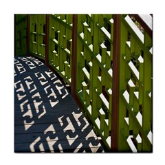 Shadow Reflections Casting From Japanese Garden Fence Face Towel