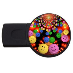 Smiley Laugh Funny Cheerful USB Flash Drive Round (4 GB)